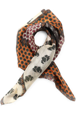 Neutrals Print Silk Tie Head Scarf