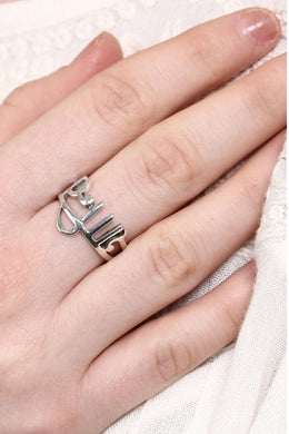 Silver Hindi Shanti Ring