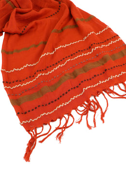 Burnt Red Stripe Scarf
