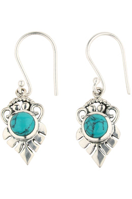Turquoise Tribal Leaf Earrings