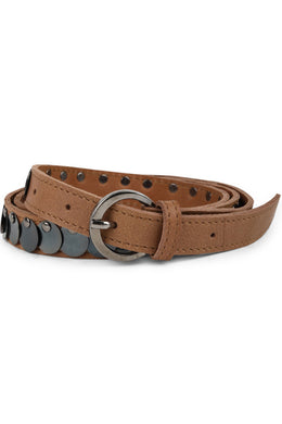 Metal Disc Tan Leather Belt