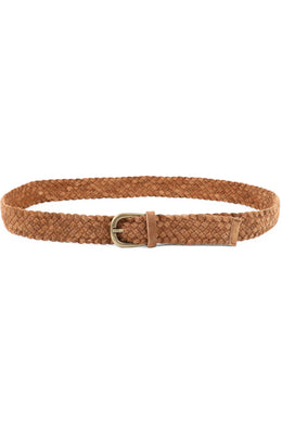 Tan Skinny Plait Leather Belt