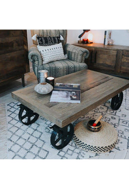 Wheeled Elm Coffee Table