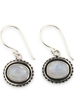 Oval Side Hanging Moonstone Earrings