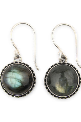 Ornate Droplet Labradorite Silver Earrings