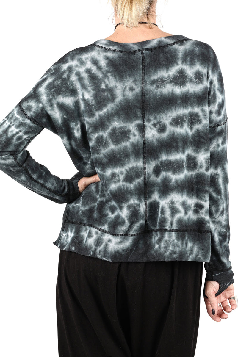 Charcoal Tie Dye Sweat Top