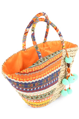 Orange Pom Pom Sea Straw Beach Bag