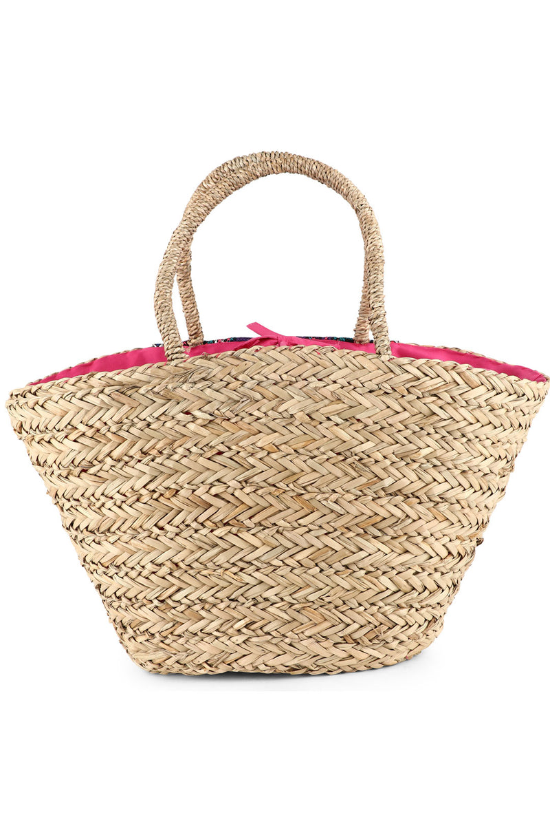 Embroidered Pom Pom Sea Straw Beach Bag