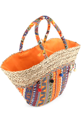 Striped Pom Pom Sea Straw Beach Bag
