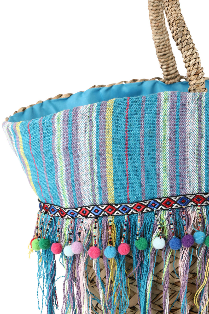 Blue Striped Tassel Sea Straw Beach Bag