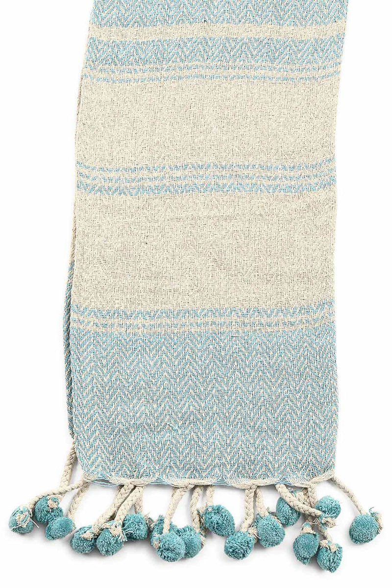 Stripe Pom Pom Cotton Throw