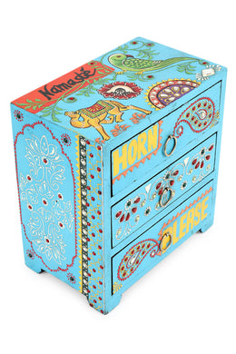 Handpainted Horn Please 3 Drawers Jewellery Box
