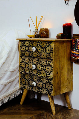 Floral Carved Black Wash Bedside Drawers