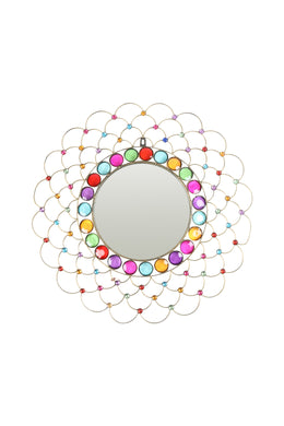 Rainbow Gem Bead Wall Mirror