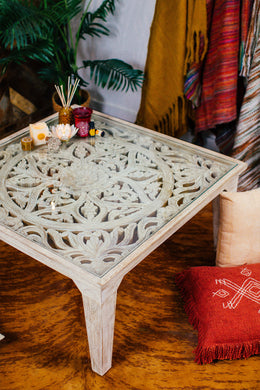 Mandala Glass Top Coffee Table