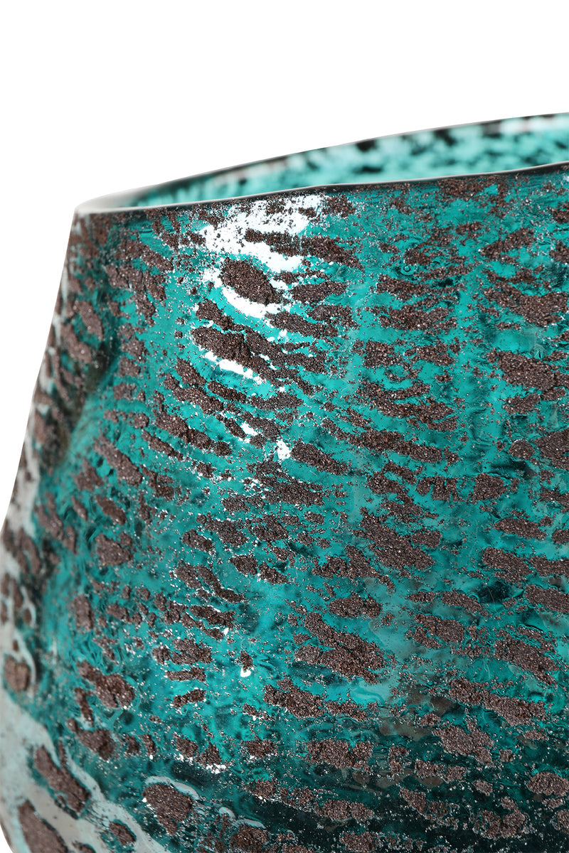 Handblown Teal Glass Textured Vase