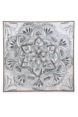 Grey Mandala Oil Painting Framed Canvas