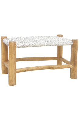 Natural & White Teak Accent Footstool