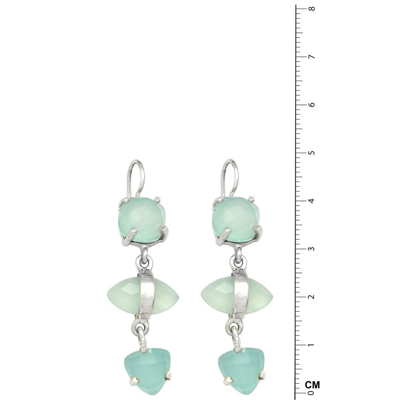 3 Stone Aqua Chalcedony Earrings