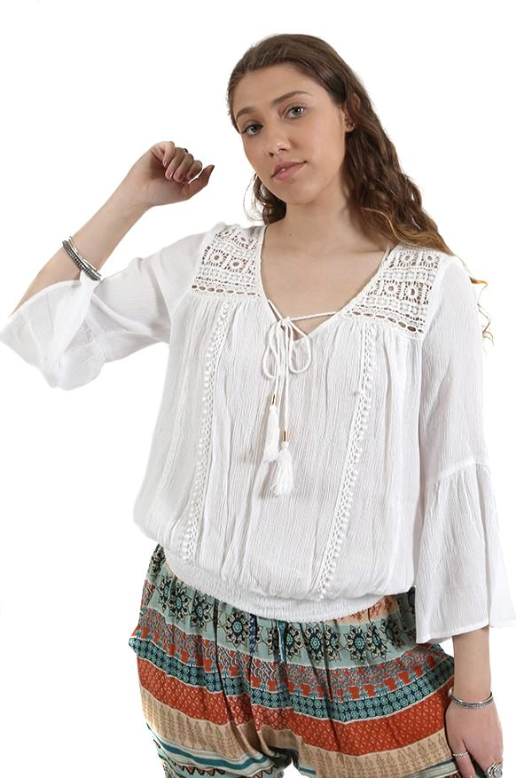 3/4 Lace Trim Top