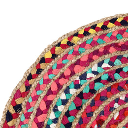 60Cm Round Braided Chindi & Jute Rug
