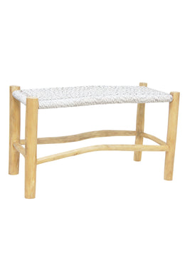 Natural & White Teak Accent Bench