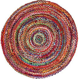 90Cm Round Braided Chindi Rug