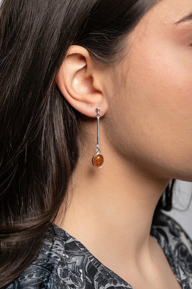 Double-sided Baltic Amber Silver Drop Earrings