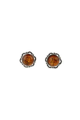 Dainty Baltic Amber Silver Stud Earrings
