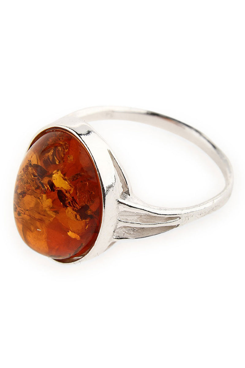Simple Baltic Amber Silver Ring