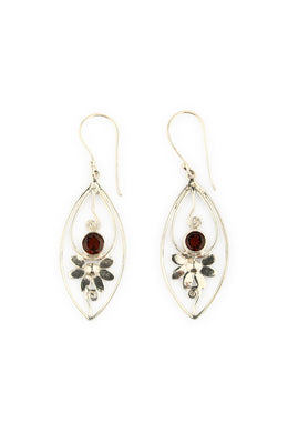 Garnet Flower Droplet Silver Earrings