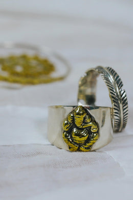 Silver & Brass Ganesh Ring