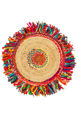 Round Multicolour Braided Jute Chindi Rag Rug - 90cm
