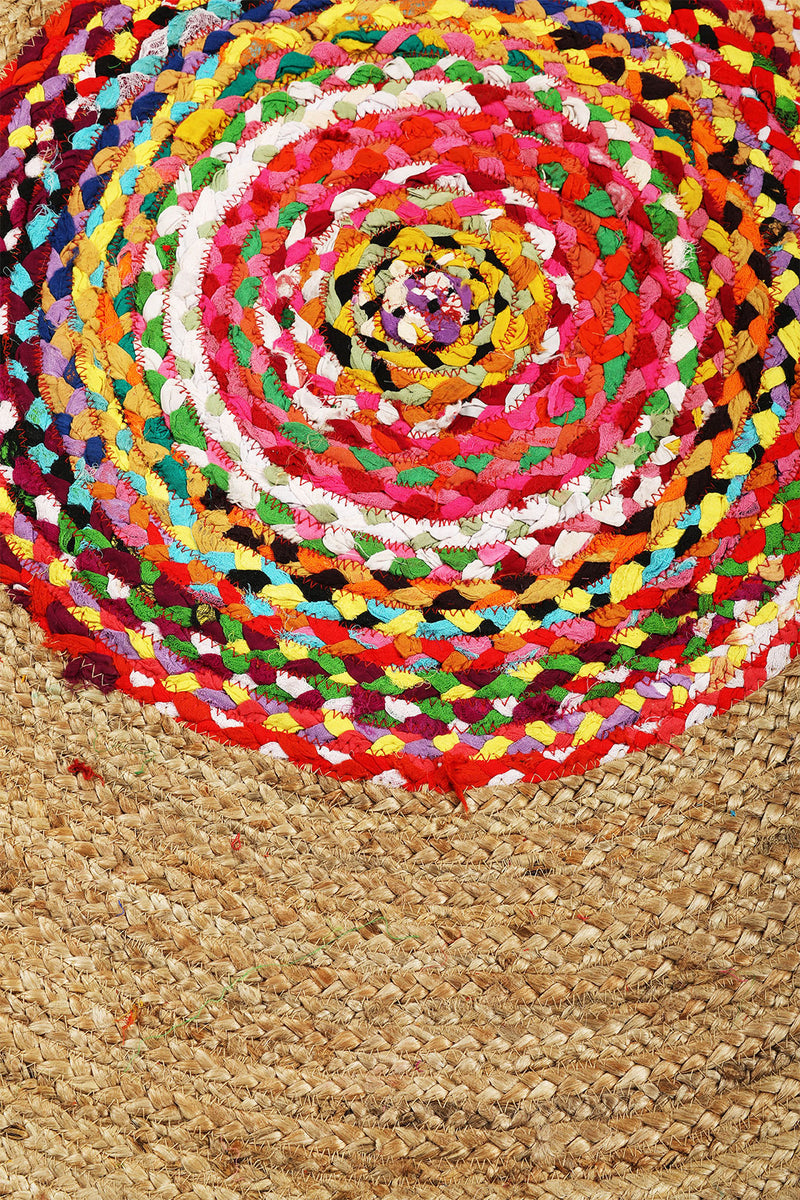 Round Multicolour Braided Jute Chindi Rag Rug - 150cm