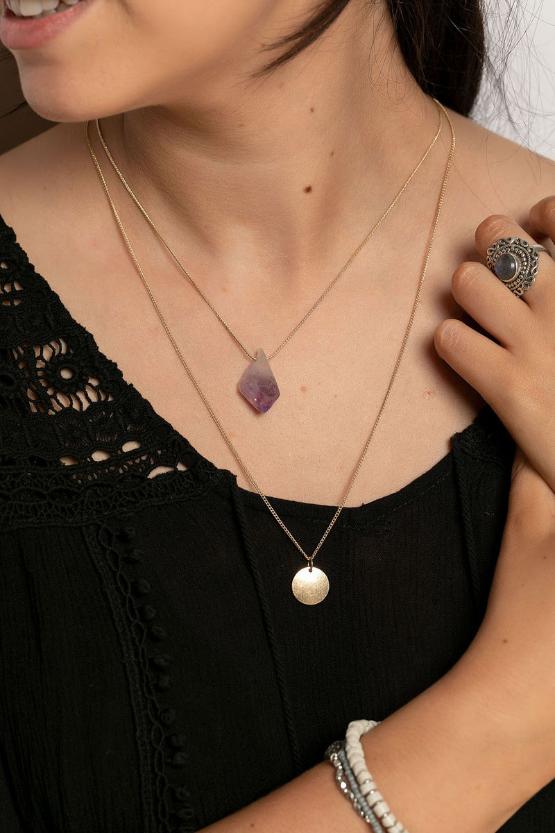 Layered Gemstone Disc Necklace