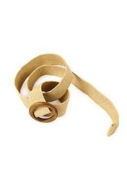 Circle Buckle Natural Woven Stretch Belt