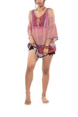 Peep Shoulder Hand-Embroidered Tunic Top