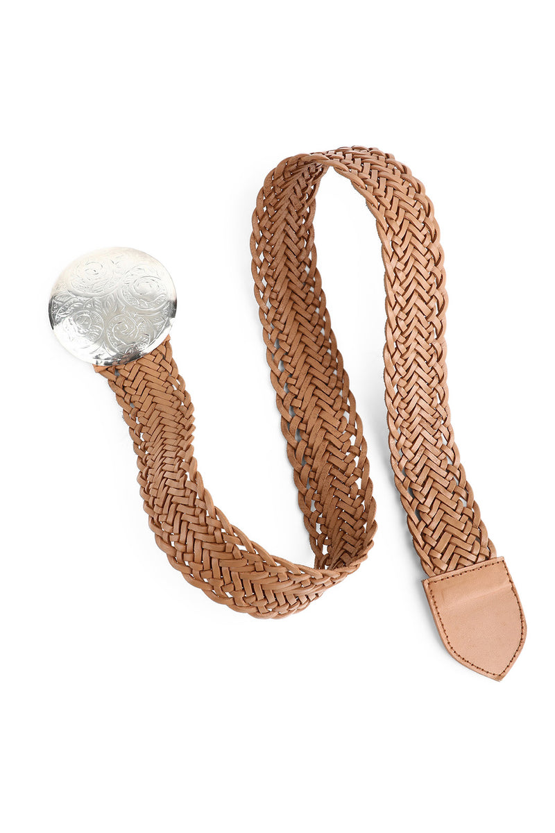Etched Disc Buckle Natural Leather Belt