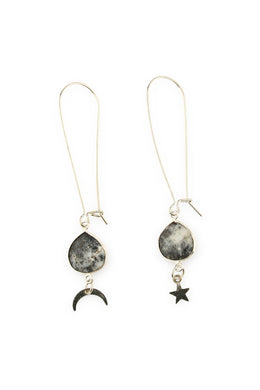 Star & Moon Gemstone Droplet Earrings