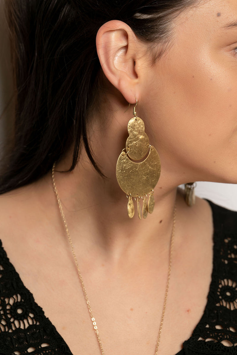 Pebbled Statement Dangly Earrings