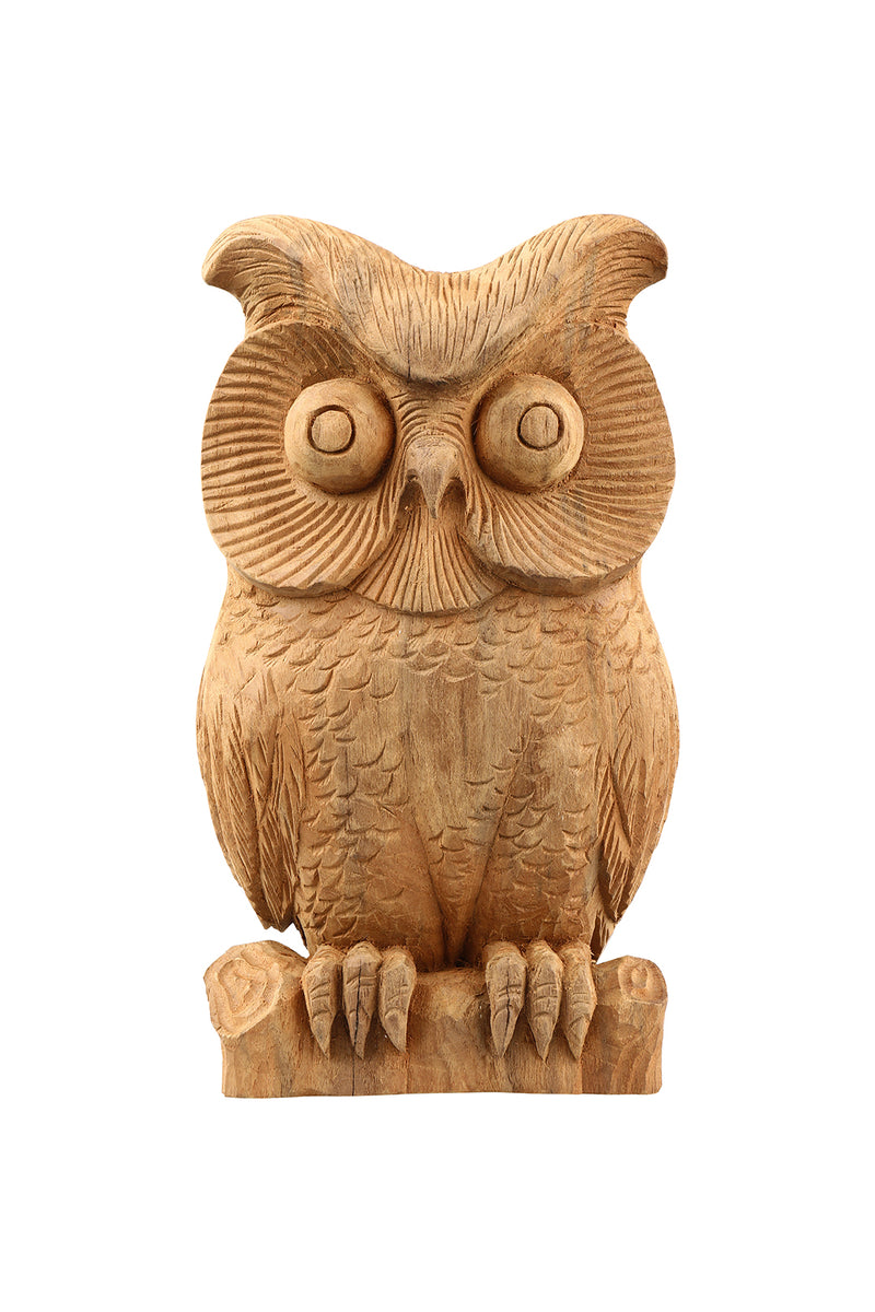 Carved Teak Owl Statue on Stand