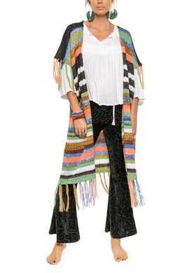 Multi Stripe Fringe Knit Jacket