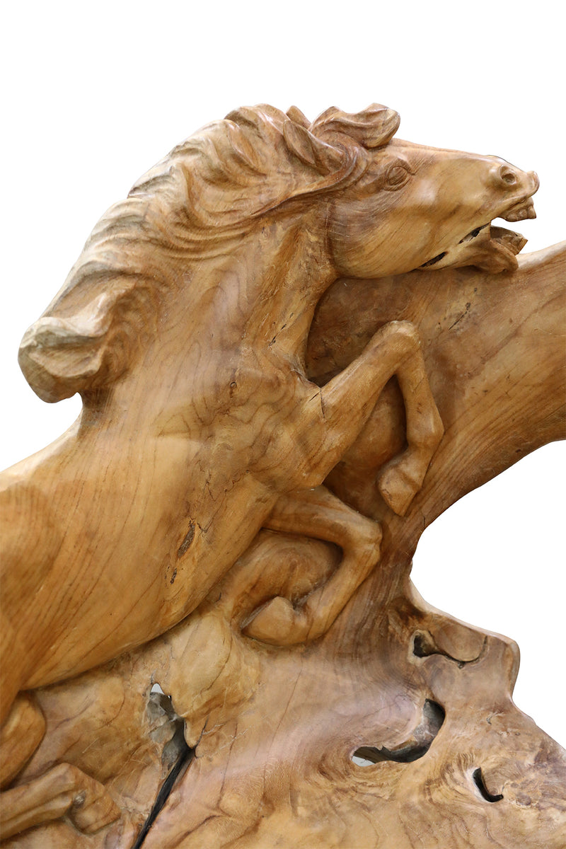 Horse Carving Teak Root Bench