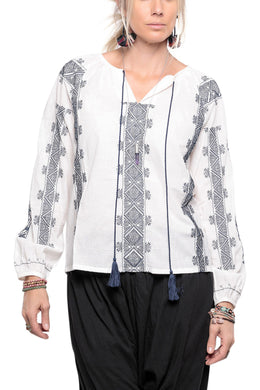 Tassels Embroidered Peasant Top