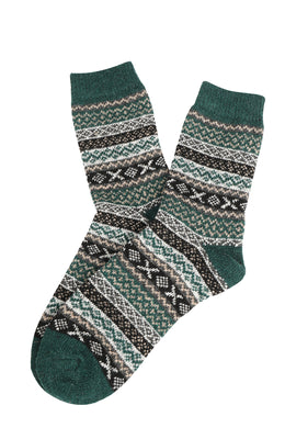 Assorted Stripe Cross Pattern Crew Socks