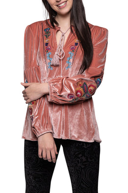 Embroidered Velvet Peasant Top