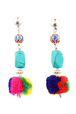 Turquoise Bead Pom Pom Drop Earrings