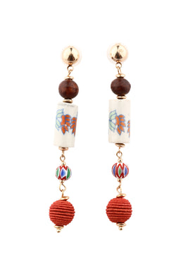 Coral Wrap Ceramic Bead Drop Earrings