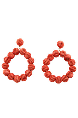Red Wrapped Yarn Statement Hoops Earrings