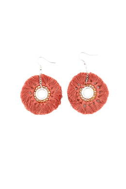 Coral Rings Tassel Earrings
